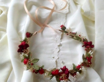 Gorgeous Red Woodland Hair Wreath Flower Crown Holiday headband Winter Weddings Bridal party dried floral accessories flower girl halo