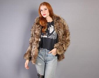 70s Shaggy RACCOON Fur COAT / Boho Warm Chubby Jacket