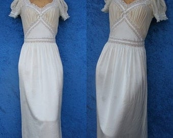 Vintage Fischer Silk Rayon Lace Chiffon Wedding Bridal Hollywood 40s 1940s 30s Mermaid Lingerie Nightgown