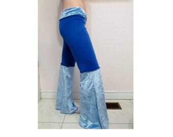 SALE Blue Velvet Dance Pants DIY Hippie Pixie Gypsy Festival