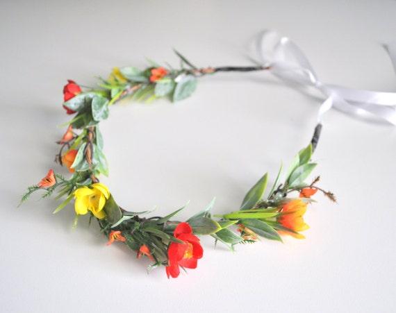 Wildflower Summer Wedding Hair Flower Crown, Red Orange Yellow Headband, Woodland Wedding Flower Crown