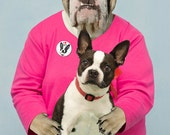 I LOVE My Boston Terrier, large original photograph of English bulldog in love with her Boston terrier
