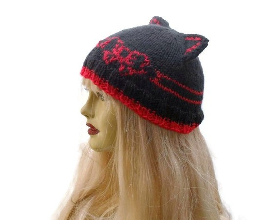 Knitting Pattern Cat Beanie : Items similar to Knitted black / red kitty hat - beanie ...