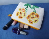 Perky orange and yellow daisy pouch, recycled vintage hand embroidered fabric