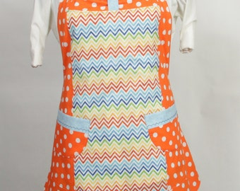 Plus size Orange Apron- Orange and white polka dots with multi colored chevron stripes