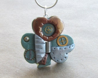 Steampunk SHAMROCK Necklace - Mixed Media Pendant - St. Patrick's Day #002