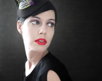 Black Felt Cocktail Hat with Houndstooth Accent - Fall Fashion
