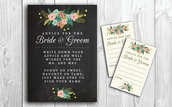 PRINTABLE Bride & Groom Advice Cards And By