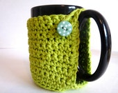 Crochet Mug Cozy in Lime Green for Coffee Lovers and Tea Drinkers