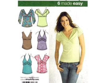 Womens Knit Top Pattern Simplicity 3837 Halter Top or Pullover Empire Top Five Styles Womens Sewing Pattern Size 6 to 14 UNCUT