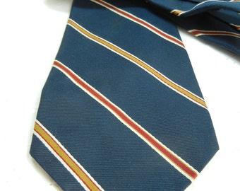 Christian Dior mens tie / Designer necktie / indigo gold magenta stripe / Dior / pure silk / blue tie / Fathers Day / needs cleaning / gift