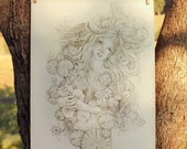 ORIGINAL Fantasy Drawing Water Nymph Mermaid Lotus Fae Ophelia Pencil Drawing Hand Drawn Ginger Kelly Fairy Tale Illustration
