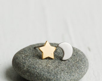 "Star & Moon Earrings, Silver Moon, Gold Star,  ""Moon of My Life - My Sun and Stars"" Game of Thrones, Celestial, Moon Star, Crescent Moon"