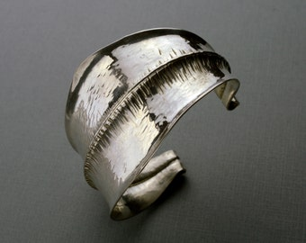 Fold Formed Tapered Sterling Silver Cuff Bracelet, Mirror Shine, Size Extra Small