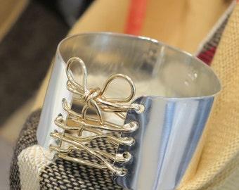 Wide Bracelet, Corset Cuff, Handmade Bangle, Wire Cuff, 14k filled Bangle