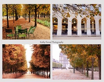 Paris Photography, Paris Photo Note Cards, Paris Tuileries Louvre Gardens, Paris Green Chairs, Palais Royal, Paris Autumn Fall Photography