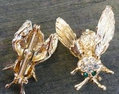 Two Gold metal and Rhinestone Bee Brooches
