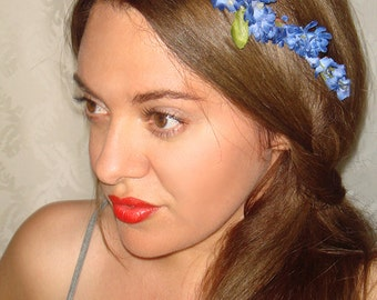 Flower Crown, Halo headband, Summer, Flower Headband- Carolina, Festival, Bohemian Headband, Bohemian, blue flowers
