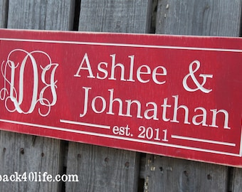 Vines Monogram PLUS Family Names with Established Date Engraved Wood Sign (S-032)
