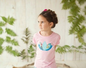 Girl's T-Shirt - Pleated Cap Sleeve Tee with Lotus Blossom - for Sizes 6-12 months, 12-18 months, 2T, 4T, 6T and 8T - by bitty bambu