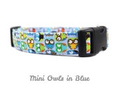 Mini Owls in Blue - Boy Dog Collar