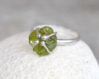 Rough Peridot Sterling Silver Ring - Uncut Raw Gemstone, Green, August Birthstone, Stackable, Rustic, Cage, Ballend Prong, nature inspired