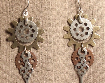 Steampunk gear earrings, mixed metals. 061412