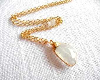 Moonstone necklace - gold necklace - moonstone and gold - A M E L I A 290