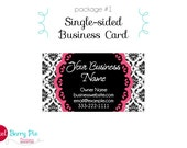 Business Card Pink / B&W Damask -  Blissfully Simple Premade Design (Single or Double-sided card options)