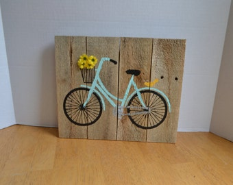 Bicycle art Reclaimed Wood Sign MADE TO ORDER