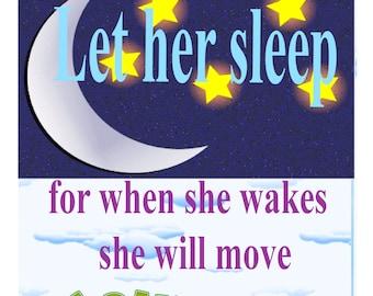 Let Her Sleep 8 x 10 Print for Little Girl's Room