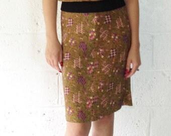Vintage 1970-80s Parisian Designer Bernard Danae Two Piece Silk Top & Straight Skirt. Dragon Print. Gold, Black, Pinks, Plus. French Beauty.