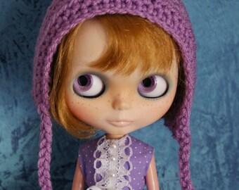 Gnome Helmet - Crochet Pixie Hat for Blythe - Lavender