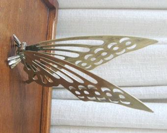 Vintage Brass Butterfly Figurine Metal Gold 1970s
