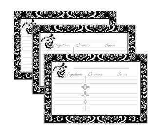 Damask Recipe Cards 4x6 Black Printable No 827 instant download