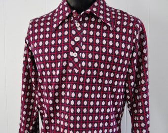 Soft Thin Polyester Lounge Shirt 70s Disco Casual Navy Blue Red Checkered Diamonds Patterned MEDIUM