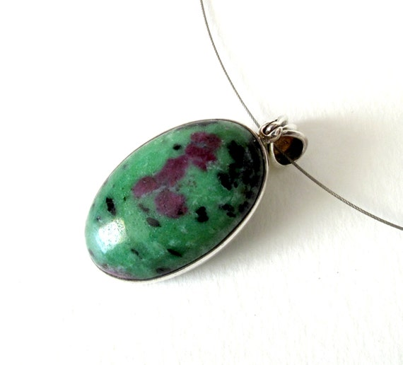 ruby with zoisite pendant sterling silver pendant with