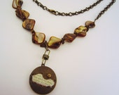 PRICE CUT. Long necklace. Locket necklace. Gift fr her. Bronze, tiger's eye beads. Industrial style. Live and let live.