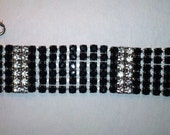 Vintage Black and Clear 6 Row Rhinestones Bracelet