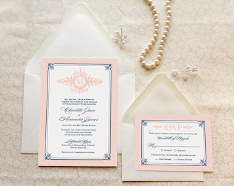 Formal Pink and Navy Monogram Wedding Invitations - Formal Wedding - Rose Gold Wedding - Blush Wedding - Elegant Wedding