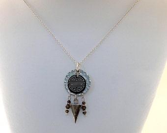 Brown Tribal Lillypilly Necklace - Swarovski Necklace - Topaz Necklace - Silver Necklace - Antique Silver - Brown Necklace - Tribal Necklace