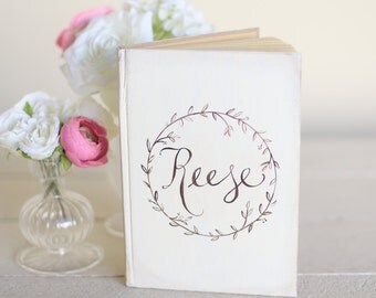 Personalized Wedding Guest Book Bridal Shower Guest Book Laurel Wreath Rustic Chic Decor (item number MMHDSR10003)