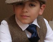 Tweed wool Hat, Pants and vest ring bearer baptism baby boy suit birthday boy suit christening