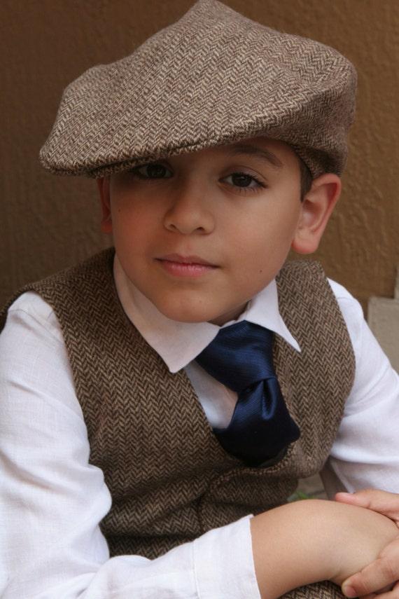Herringbone Hat Pants And Vest Ring Bearer Baptism Baby Boy