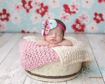 Knit Mini Blankets Baby Wrap Newborn - Pink