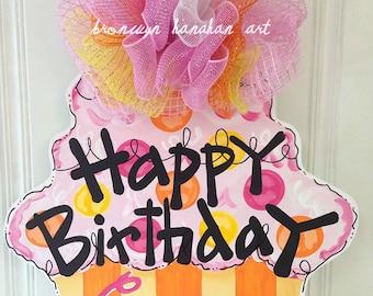Pink + Orange Birthday Cupcake Door Hanger - Bronwyn Hanahan Art