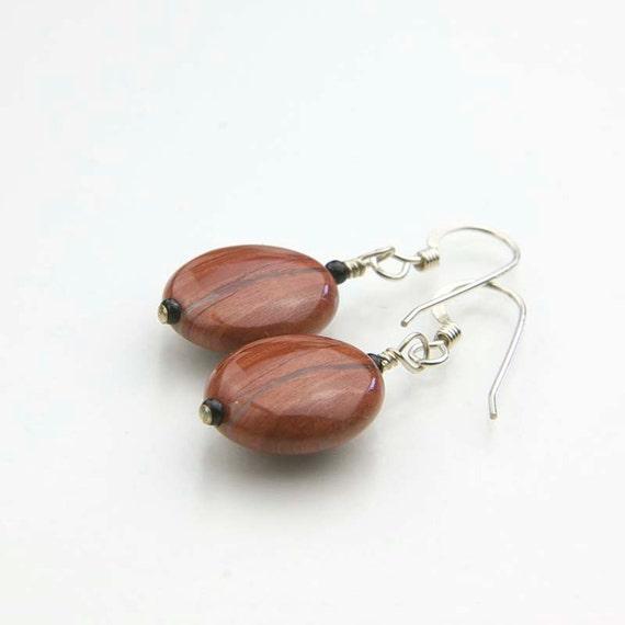 Red Jasper Gemstone Earrings- Earthy Minimalist Earrings- Root Chakra Stones- Coin Jasper Drop Earrings