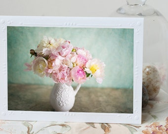 Peony Photo Notecard - Bouquet of Peonies, Floral Photo Notecard, Note Card, Stationery, Blank Notecard