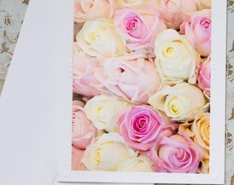 Paris Photo Notecard - Pink and Yellow Roses Greeting Card, French Roses Notecard, Stationery, Blank Notecard