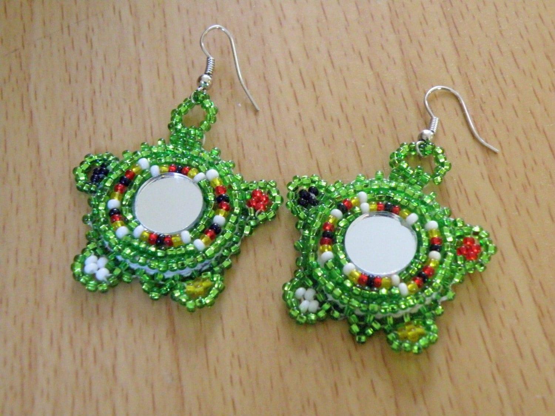 Native American Turtle Beaded Earrings